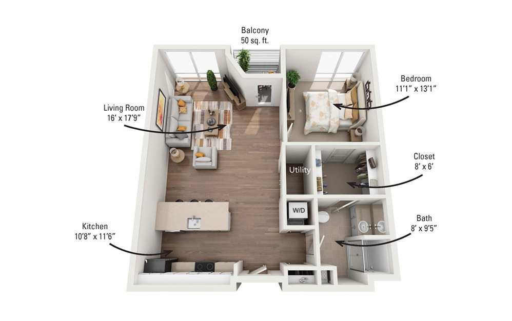 1A 1 Bedroom 1 Bath Floorplan