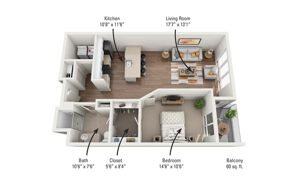1B 1 Bedroom 1 Bath Floorplan