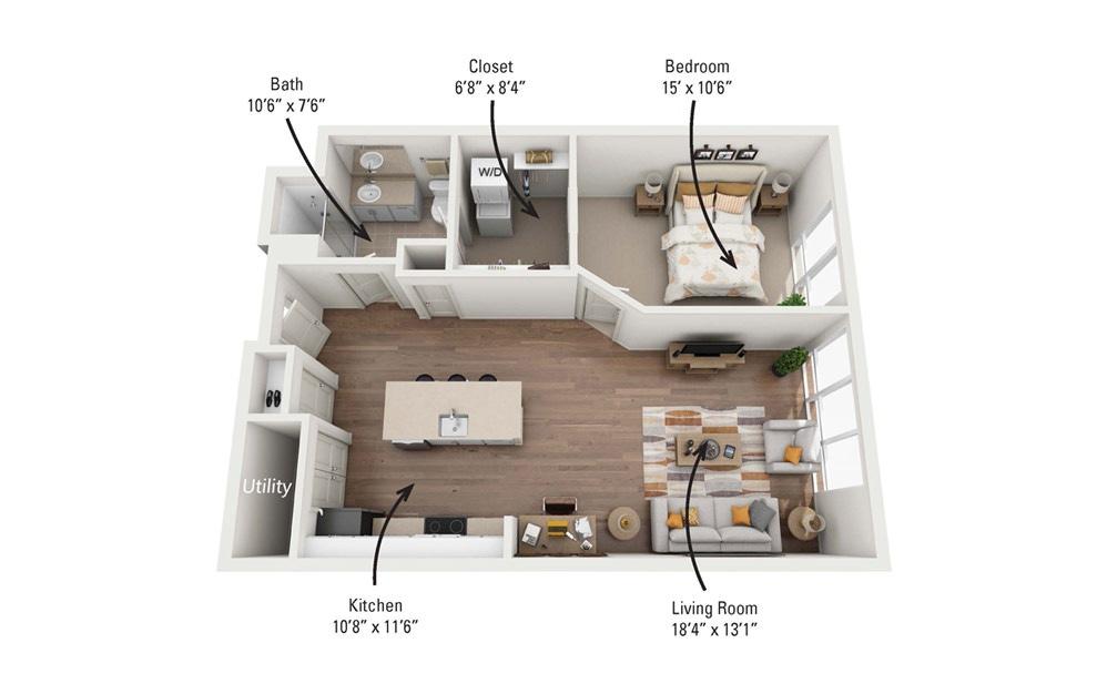 1C 1 Bedroom 1 Bath Floorplan
