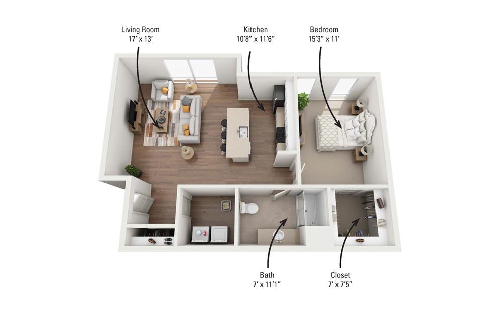 1D 1 Bedroom 1 Bath Floorplan