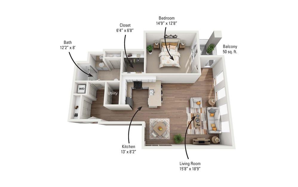 1E 1 Bedroom 1 Bath Floorplan