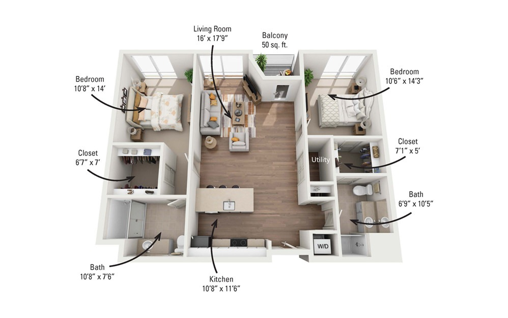 2A 2 Bedroom 2 Bath Floorplan