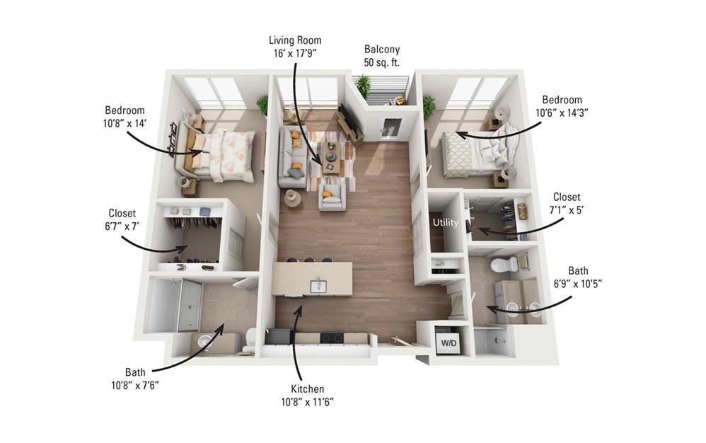 2A 2 Bedroom 2 Bath Floorplan