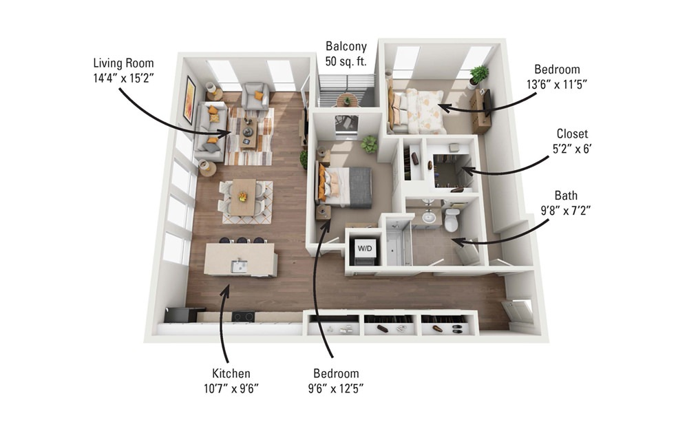 2B 2 Bedroom 1 Bath Floorplan