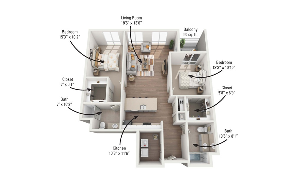 2D 2 Bedroom 2 Bath Floorplan
