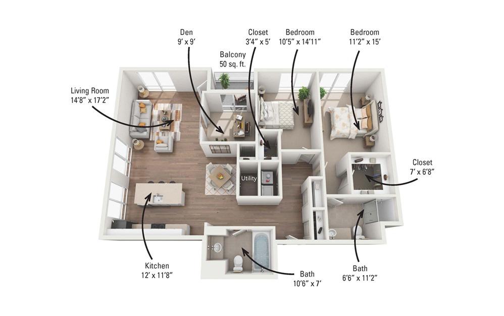 3A 3 Bedroom 2 Bath Floorplan