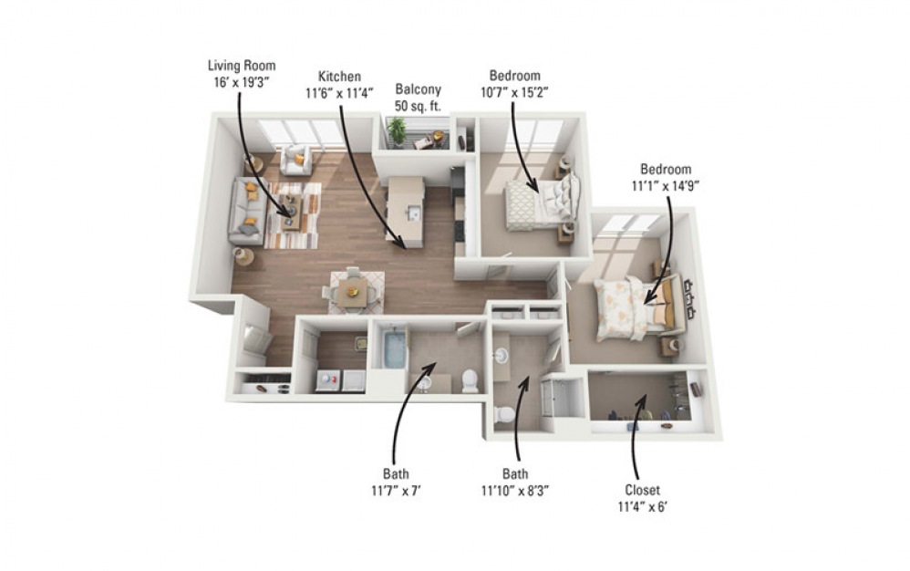 2C 2 Bedroom 2 Bath Floorplan
